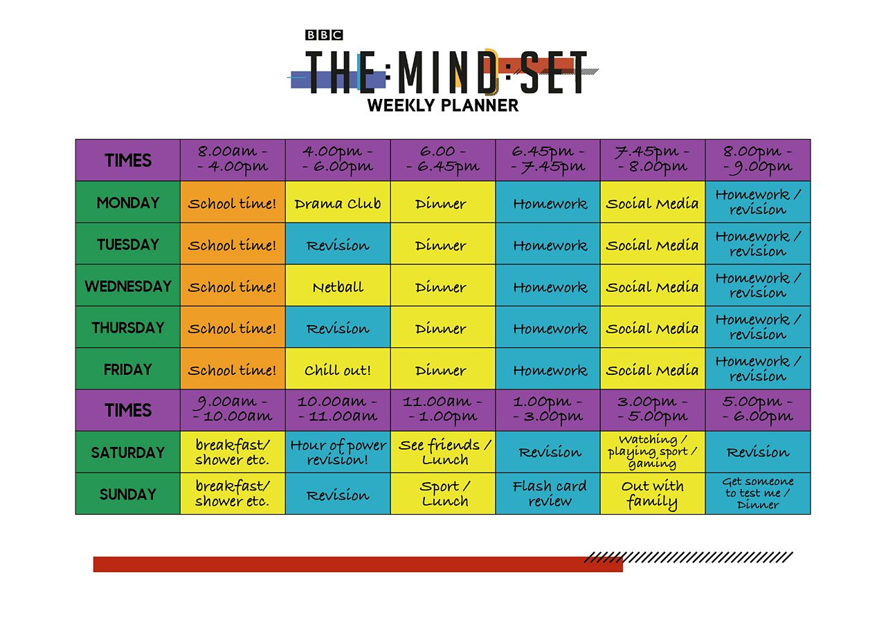 Weekly planner from BBC The Mind Set