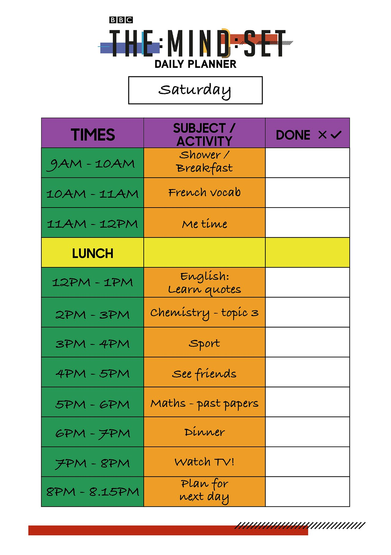 Daily work schedule from BBC The Mind Set