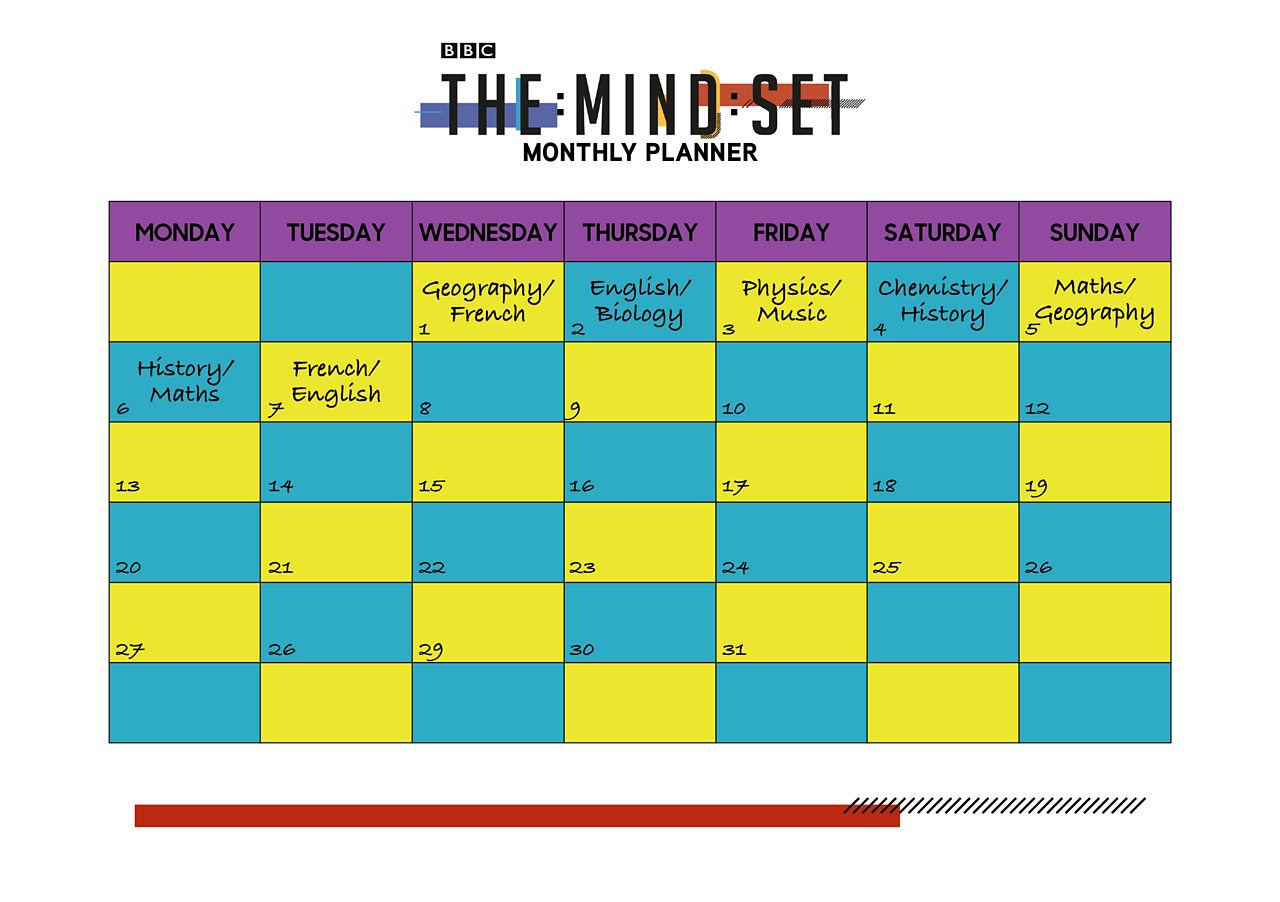 Monthly planner from BBC The Mind Set