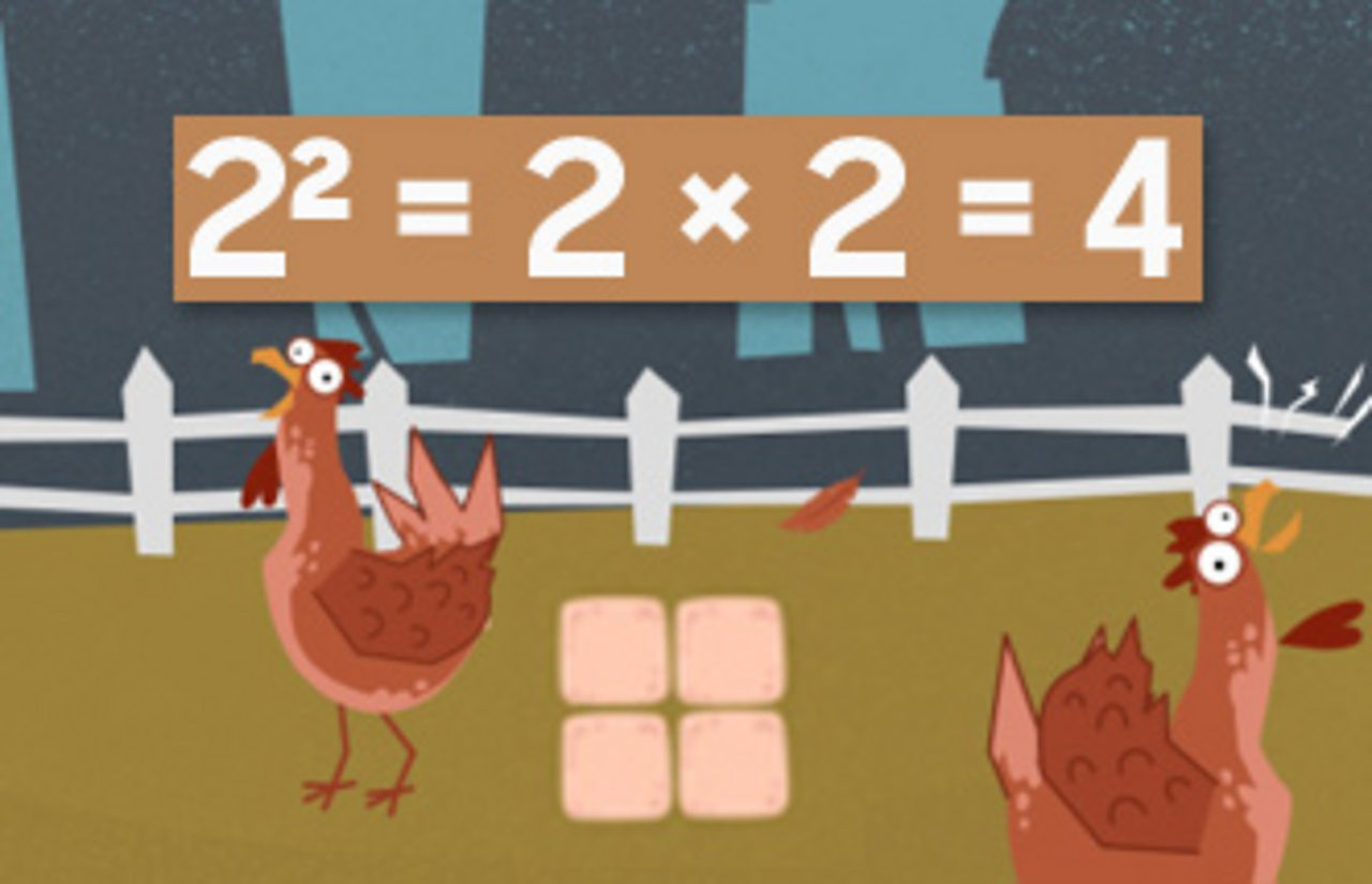 chickens and eggs showing the square number - 4