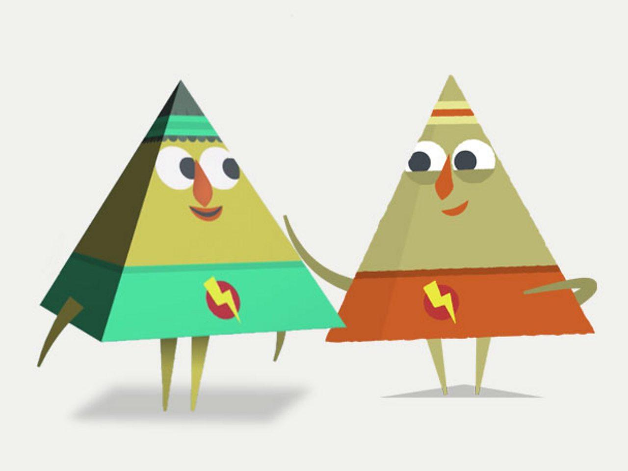 Cymeriad triongl yn curo cefn cymeriad pyramid yn gyfeillgar.