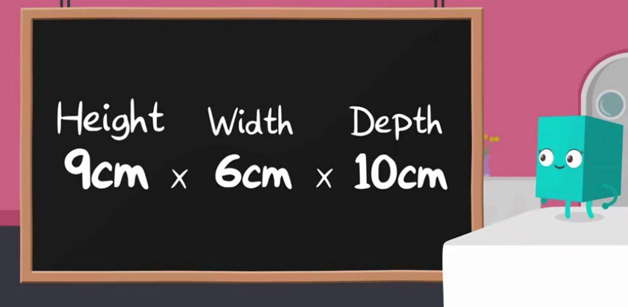 A calculation that reads: 9cm × 6cm × 10cm = 540cm³