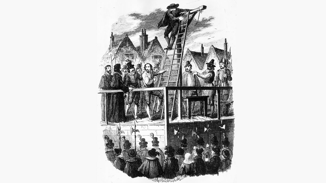 Guy Fawkes climbing a ladder