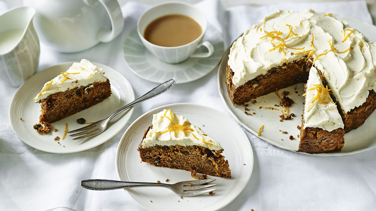 Sugar-free carrot cake with orange cream cheese frosting