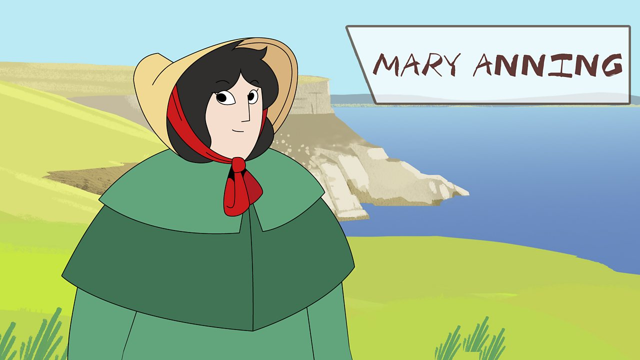 Mary Anning on top of a cliff