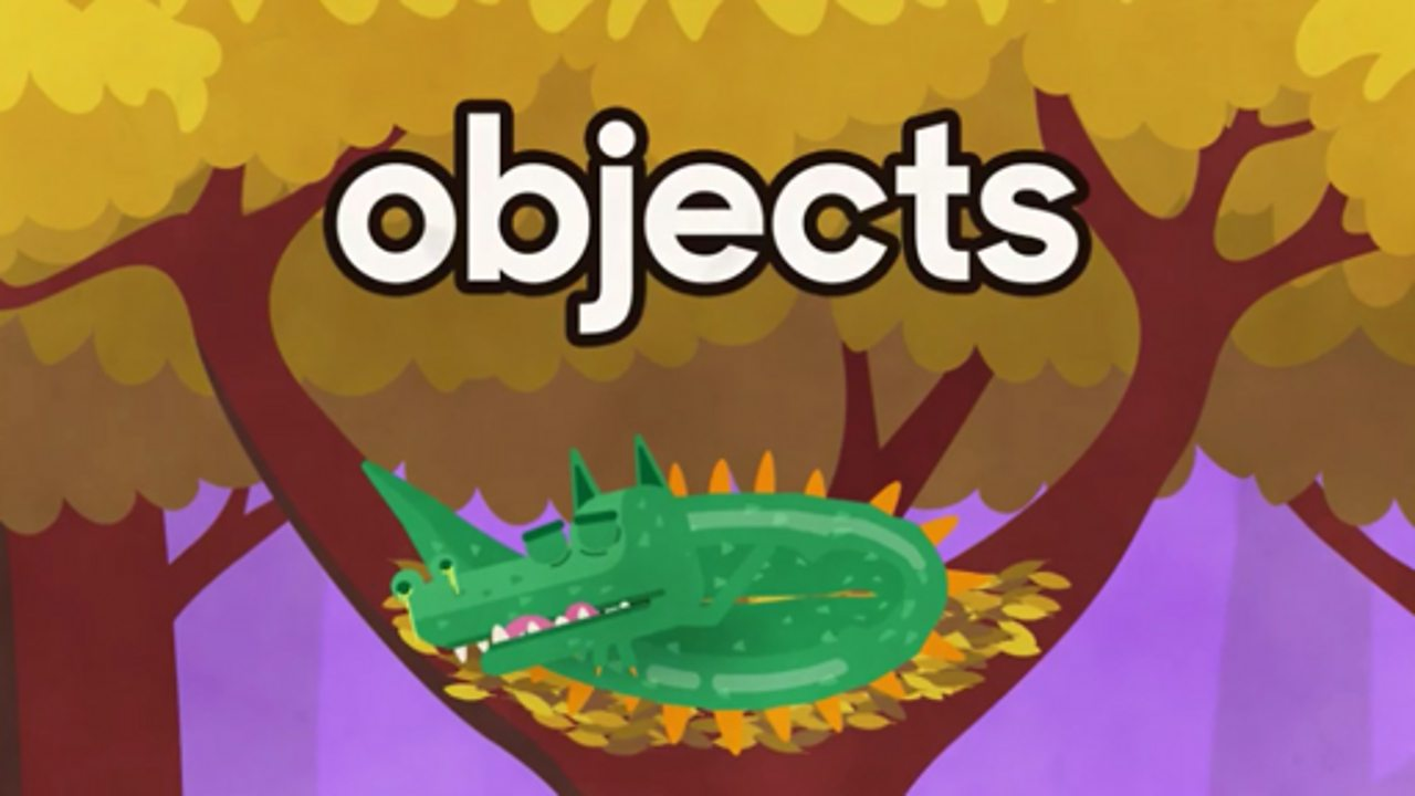 Lizard sleeping with the word objects above him.
