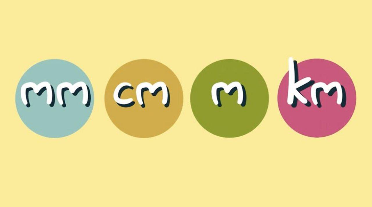 Labeli gyda'r llythrennau - mm, cm, m, km