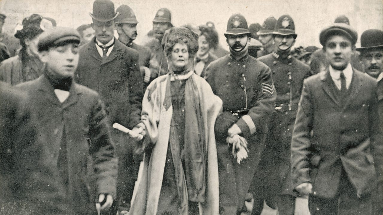 Emmeline Pankhurst being arrested in Victoria street, London.
