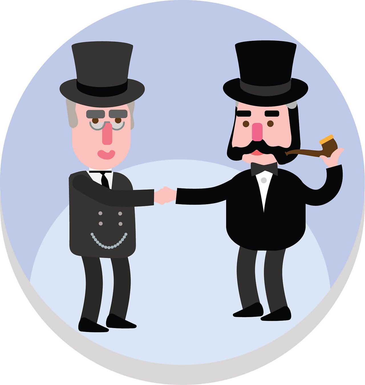 Animated image of two businessmen shaking hands