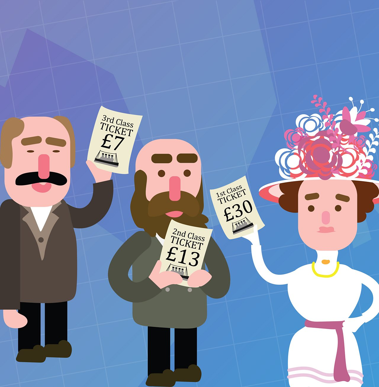 Animated image of passengers holding up tickets to board the Titanic