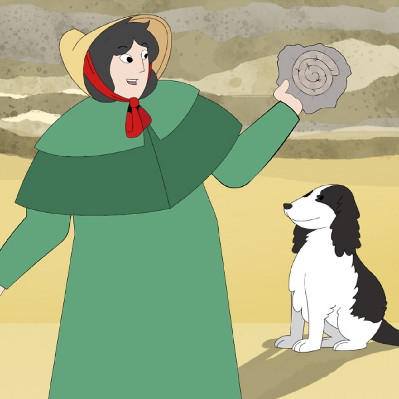 Mary Anning smiling holding a fossil on a beach, with her dog.