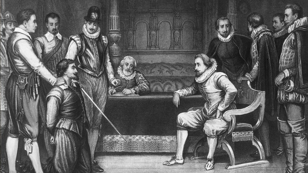 Guy Fawkes being questioned by the King.