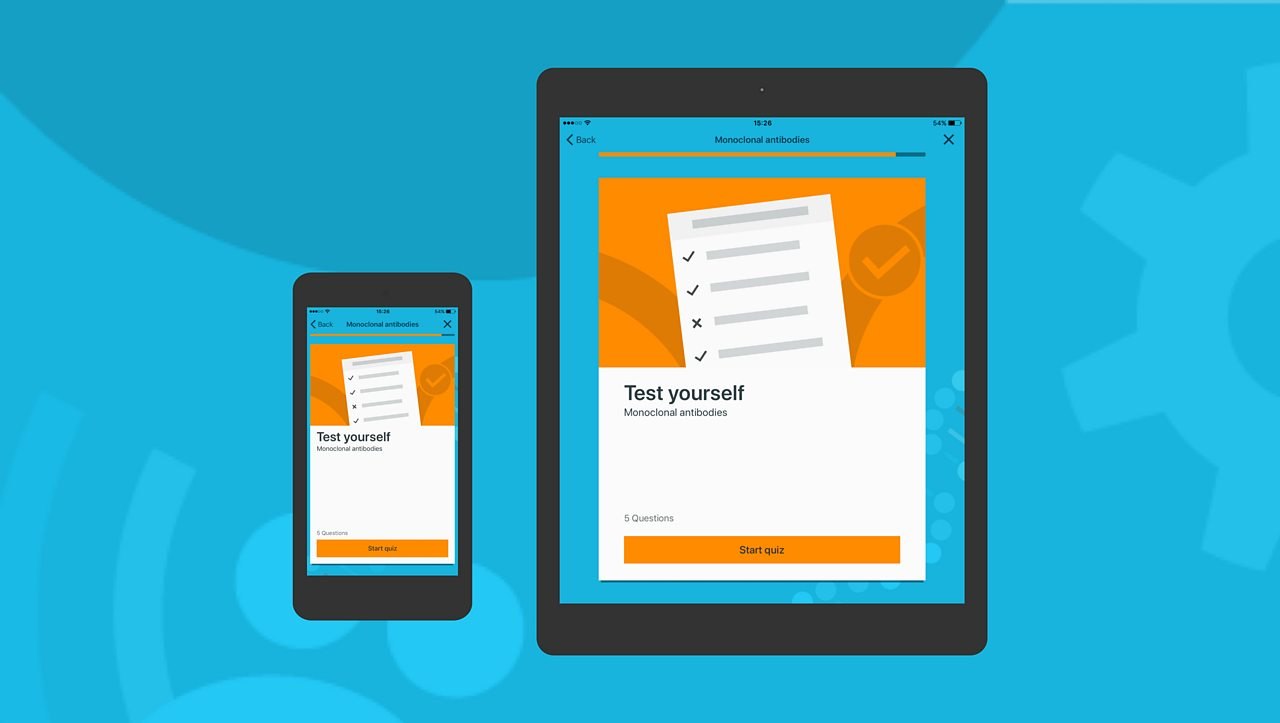 Mobile next to tablet - the app also has a load of quizzes for you to test what you know