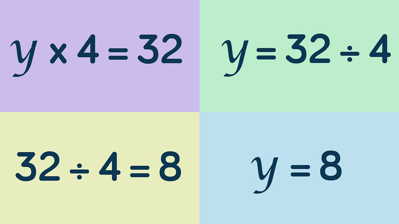 calculation showing y equals 8