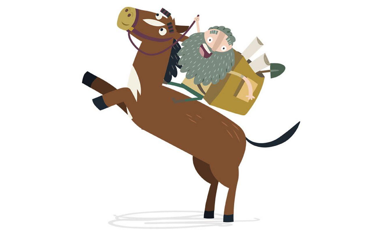 Emmet riding a horse.