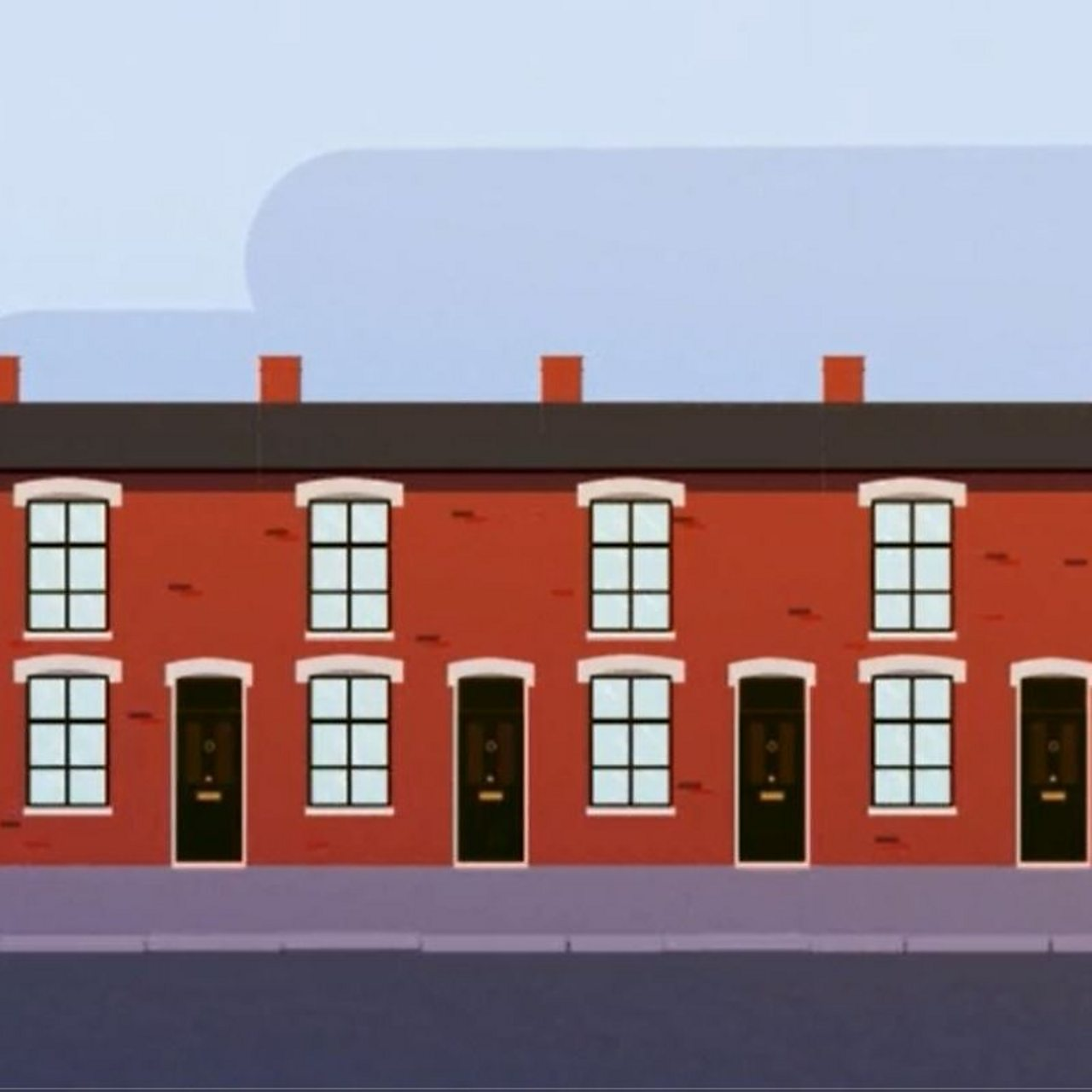 Animated image of a row of terraced houses