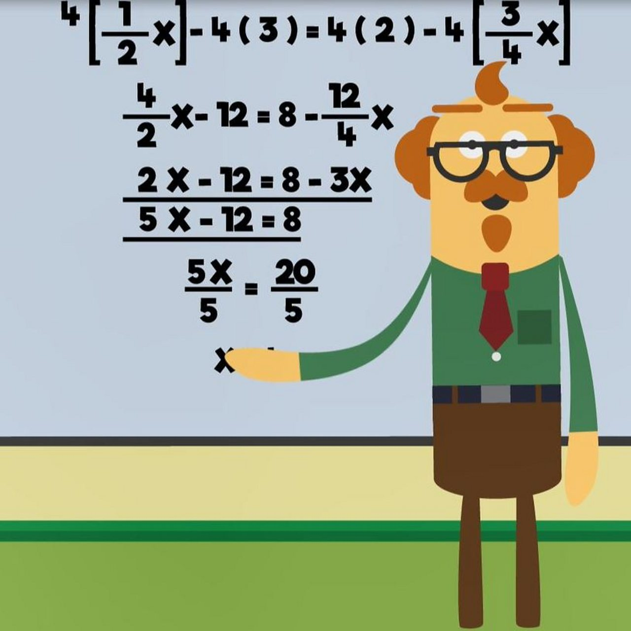 Animation of teacher pointing to a board full of maths equations