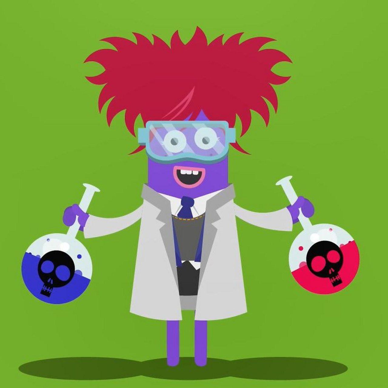 Animated image of a scientist holding a chemical bottle with both hands