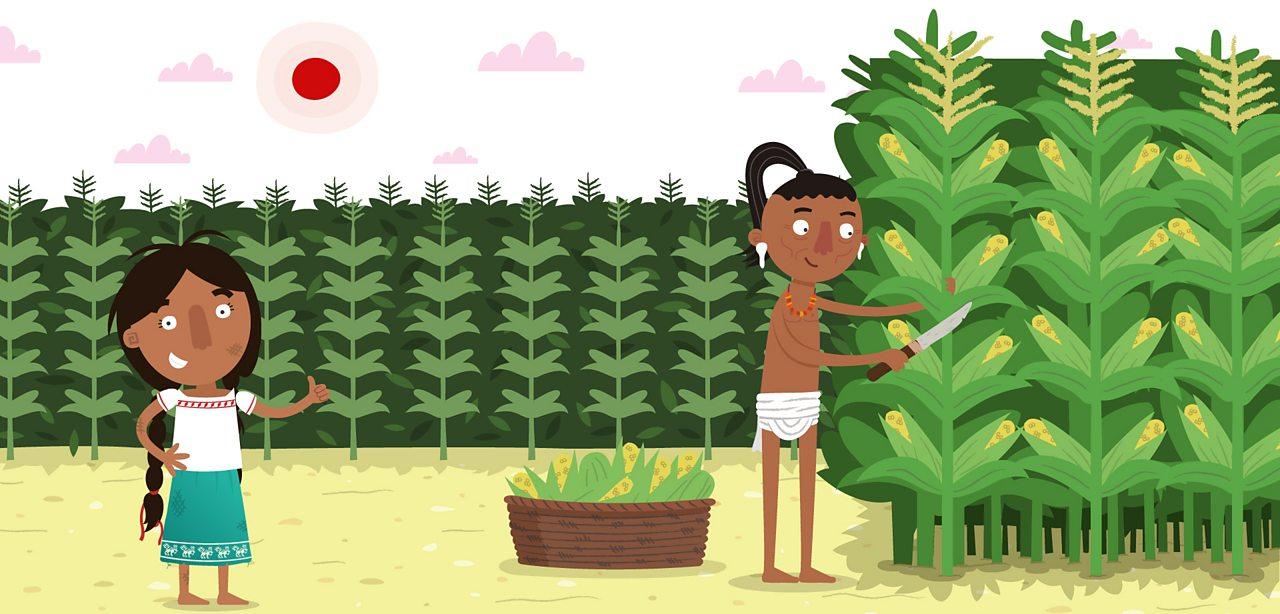Ancient Maya girl, Jade Skirt, standing next to a farmer.