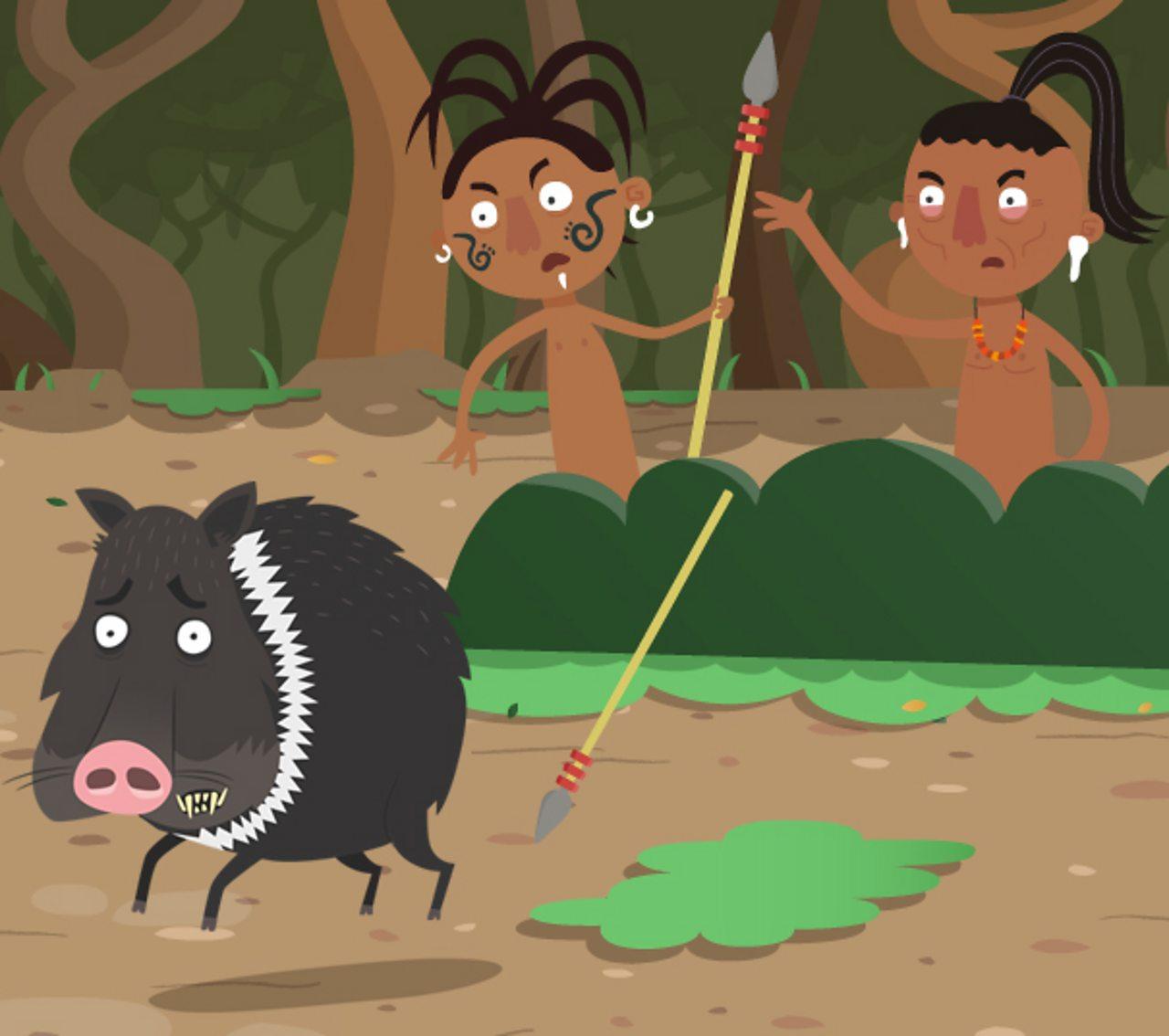 Two Maya hunters chasing a pig