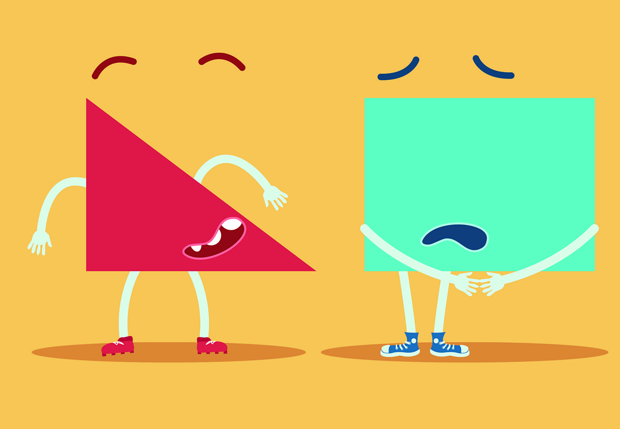 A triangle and a rectangle characters standing next to each other.