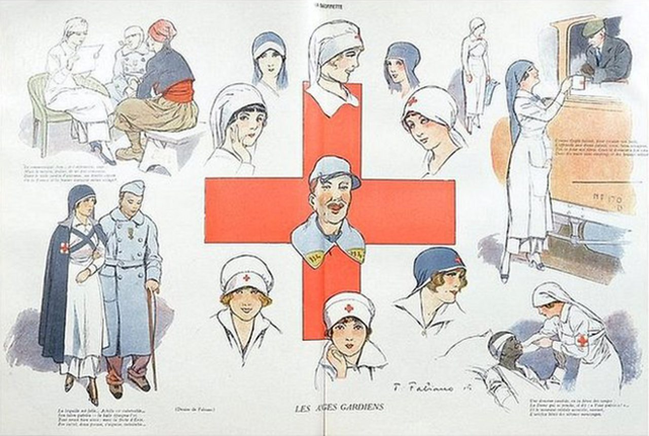 llustration of Red Cross nurses by Fabien Fabiano for French magazine 'La Baionette' in 1915