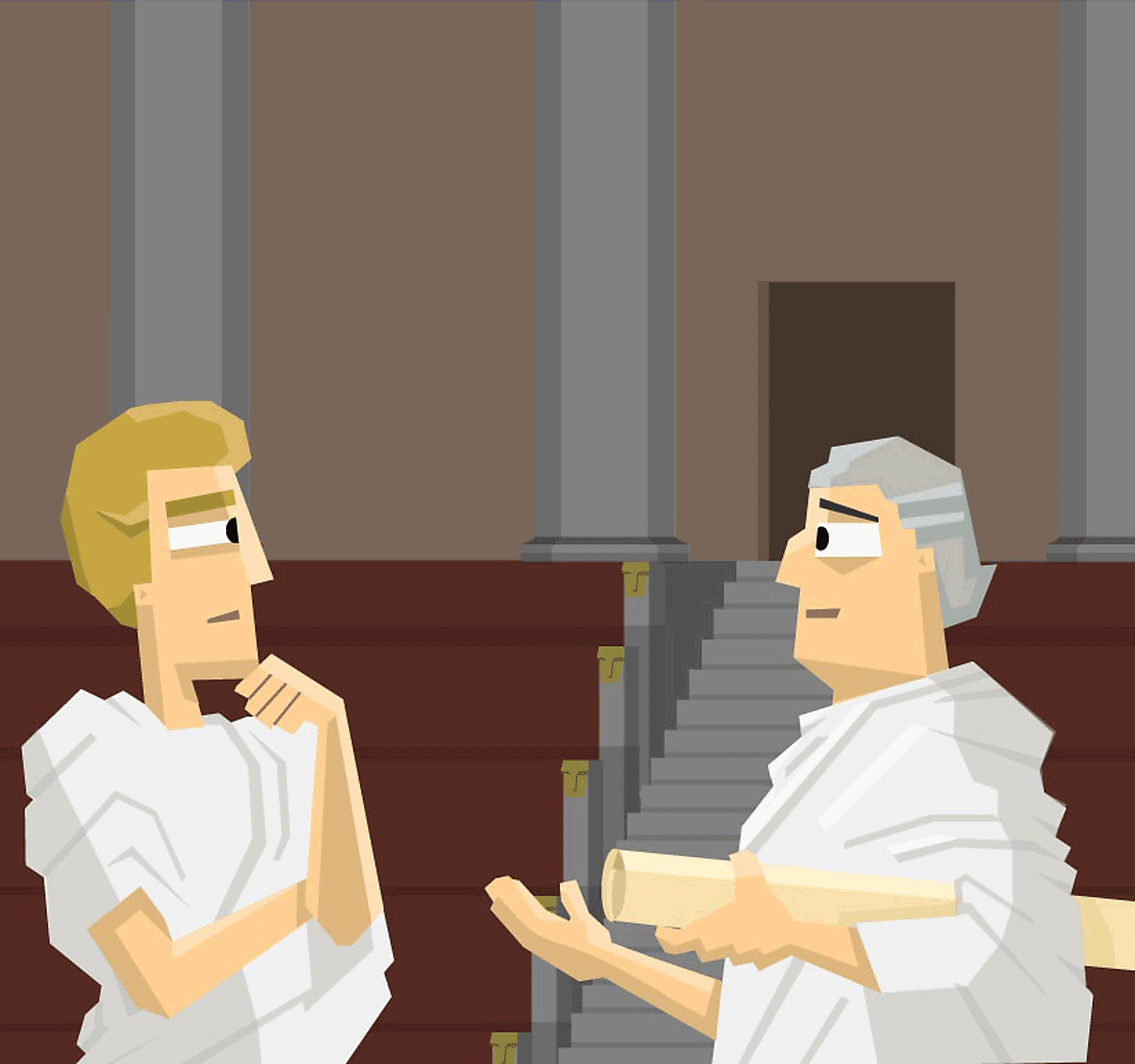 Two Roman senators in discussion.