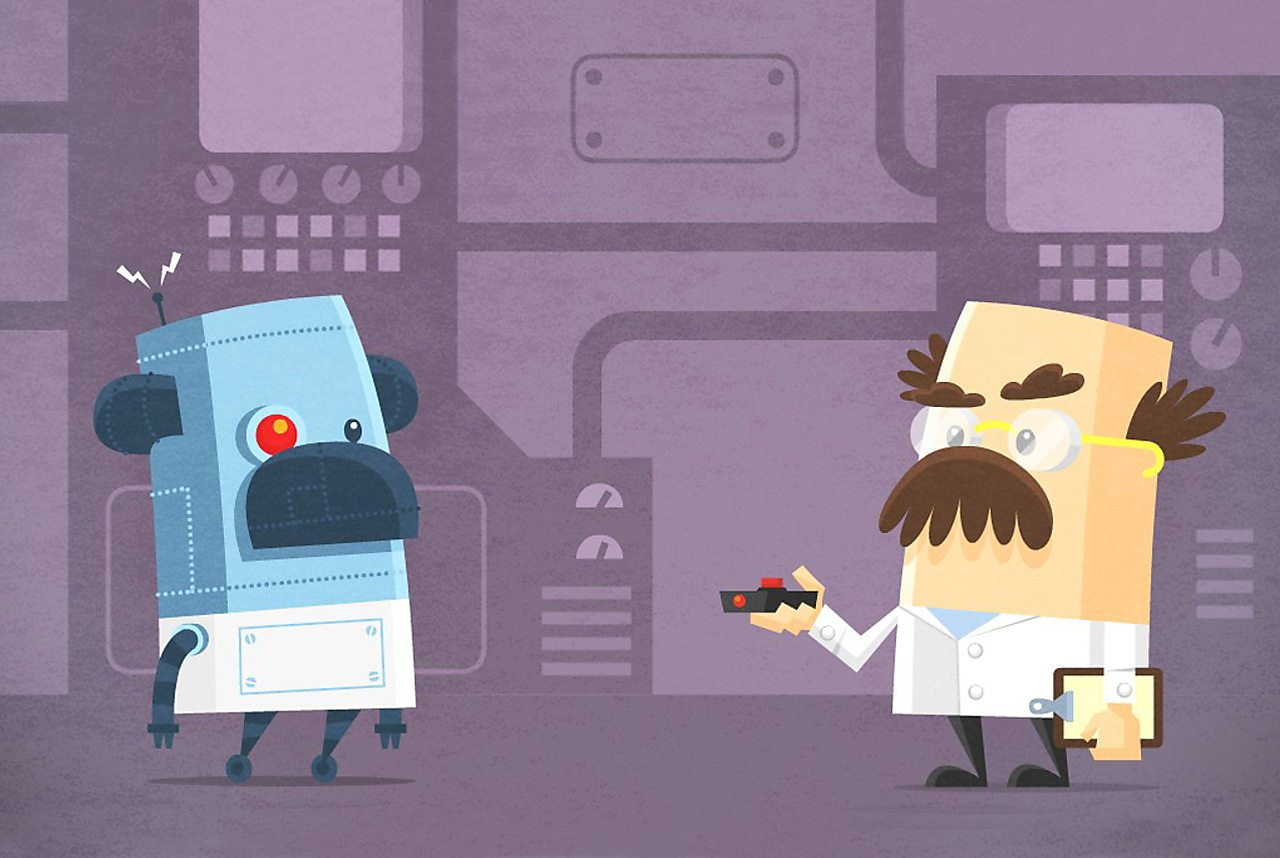 An illustration of a robot and a scientist