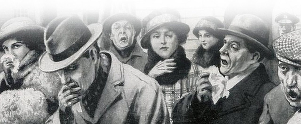 A drawing of a variety of people in a street in 1918 suffering from Spanish Influenza