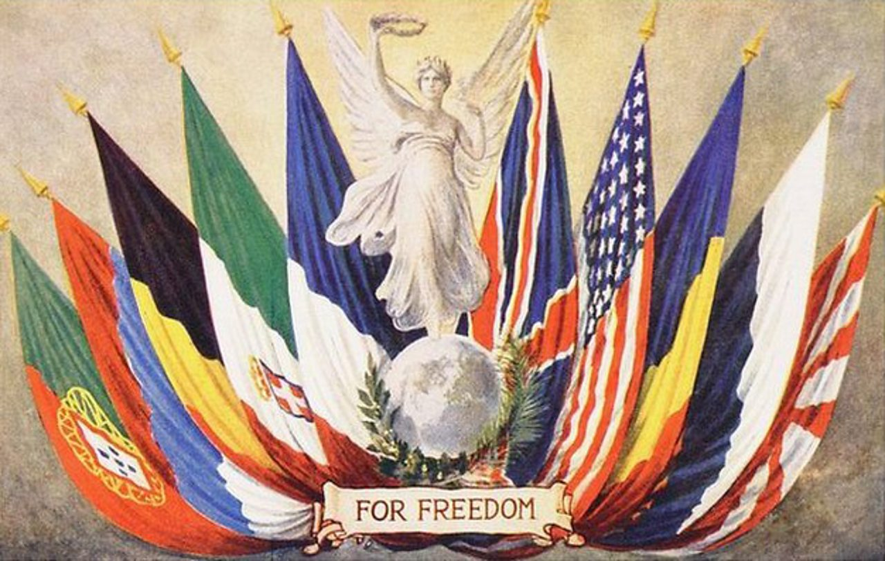 An illustration of the Allied flags promoting Freedom from World War One
