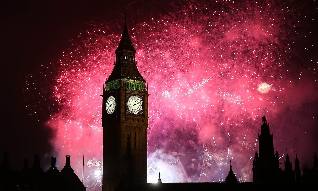 A Firework display over Parliament.