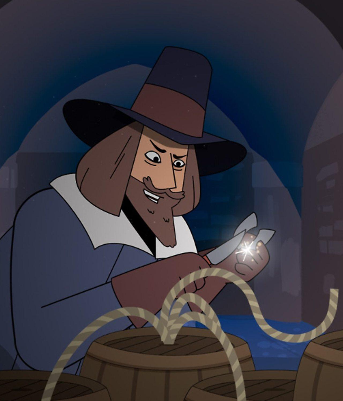 Guy Fawkes secretly lighting a barrel of gunpowder in a tunnel.