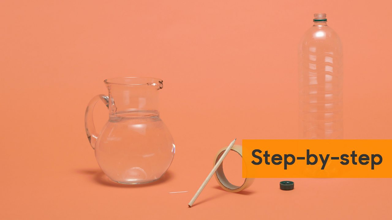 Step-by-step guide showing a jug of water, plastic bottle, sticky tape and a pencil.