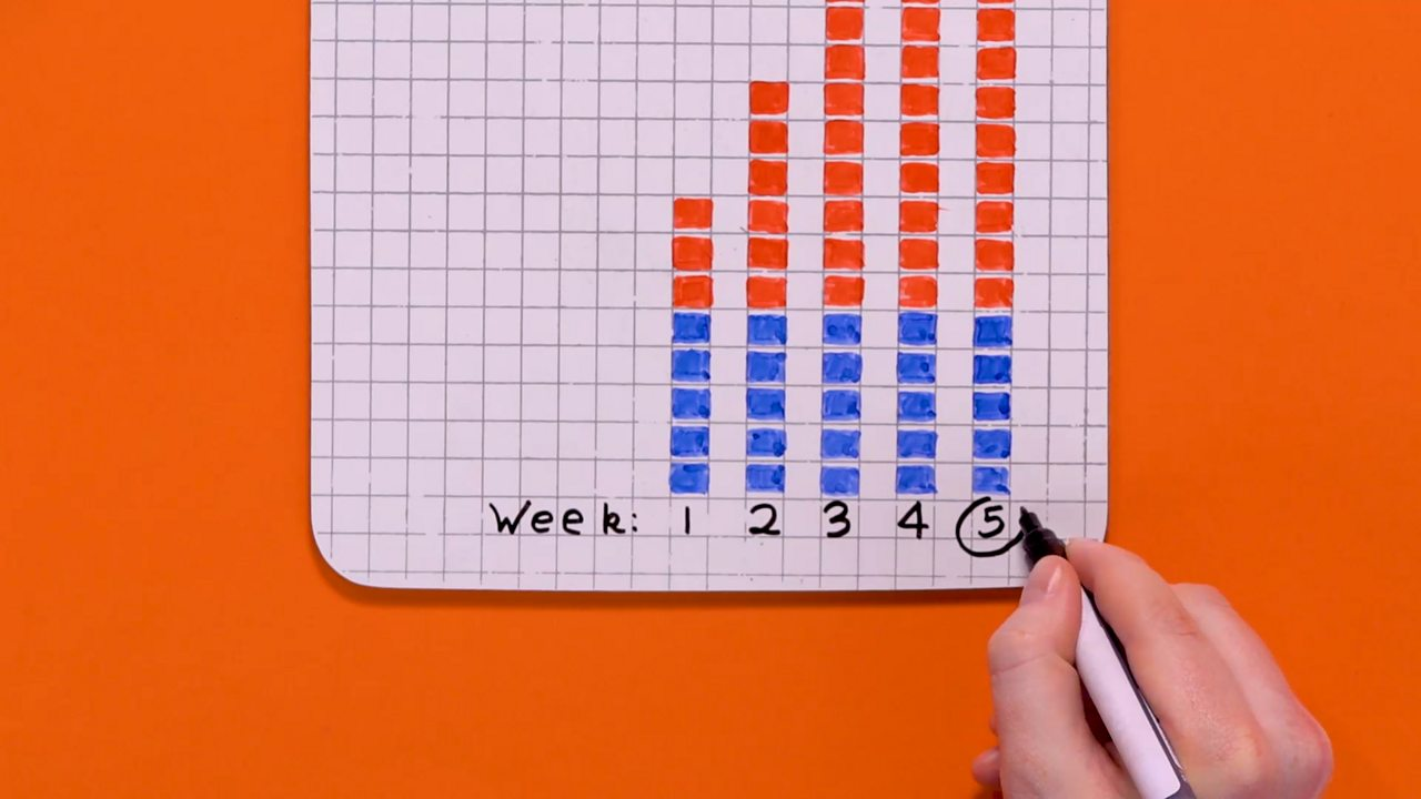 A mini whiteboard showing five shaded bars and someone is circling the fifth bar