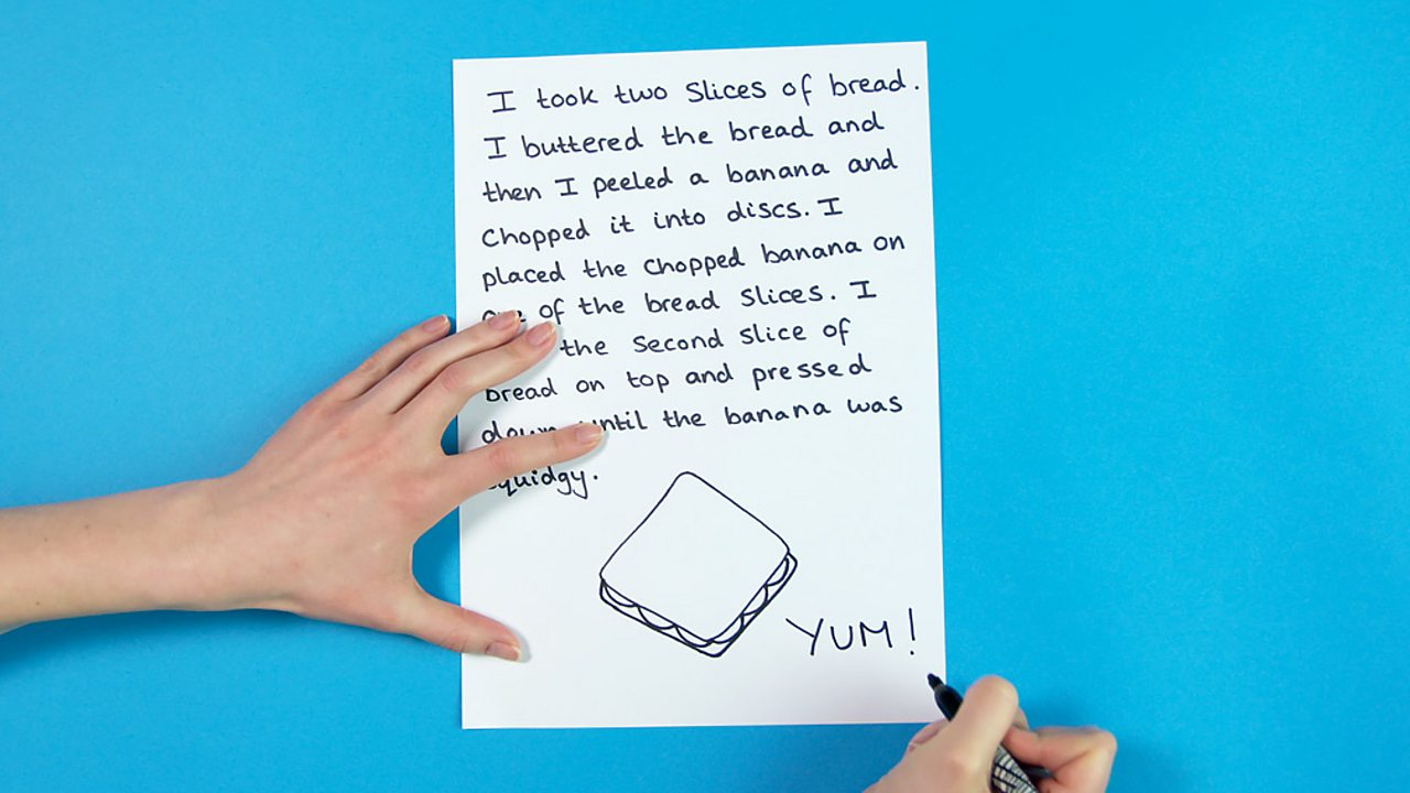 A piece of paper with writing and an illustration of a banana sandwich on it