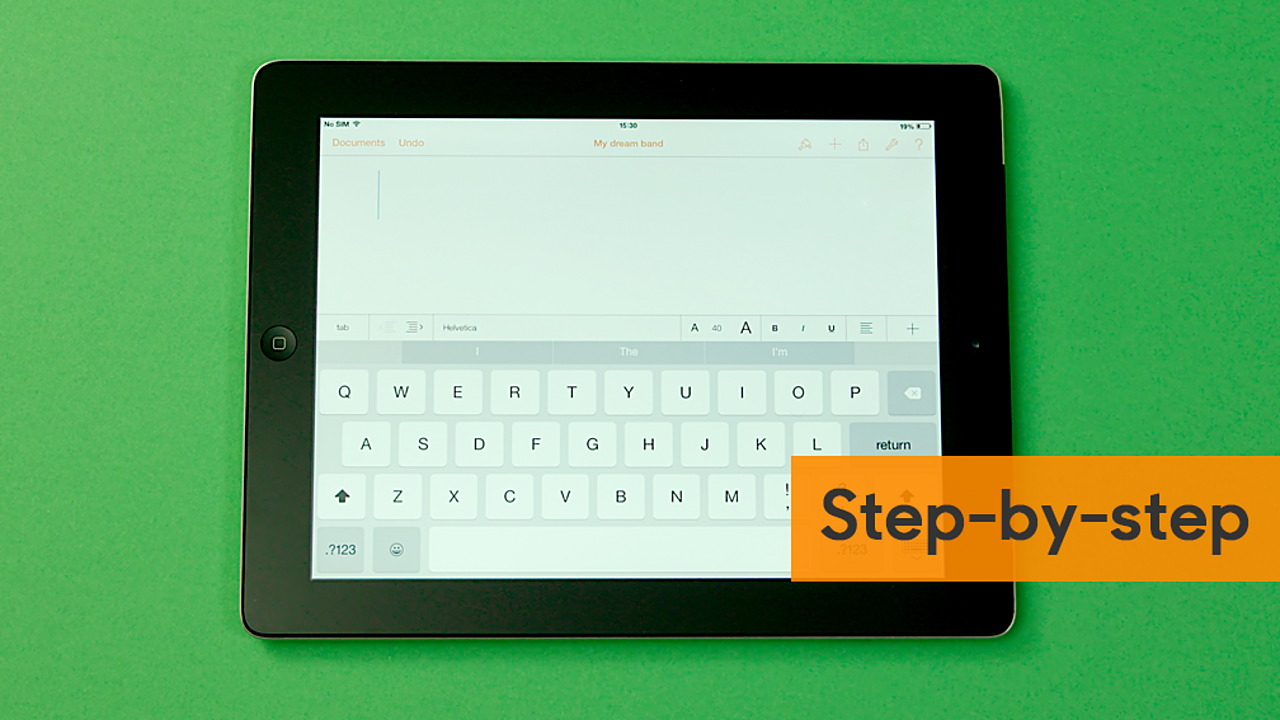 A touch screen keyboard and notepad open on a tablet.