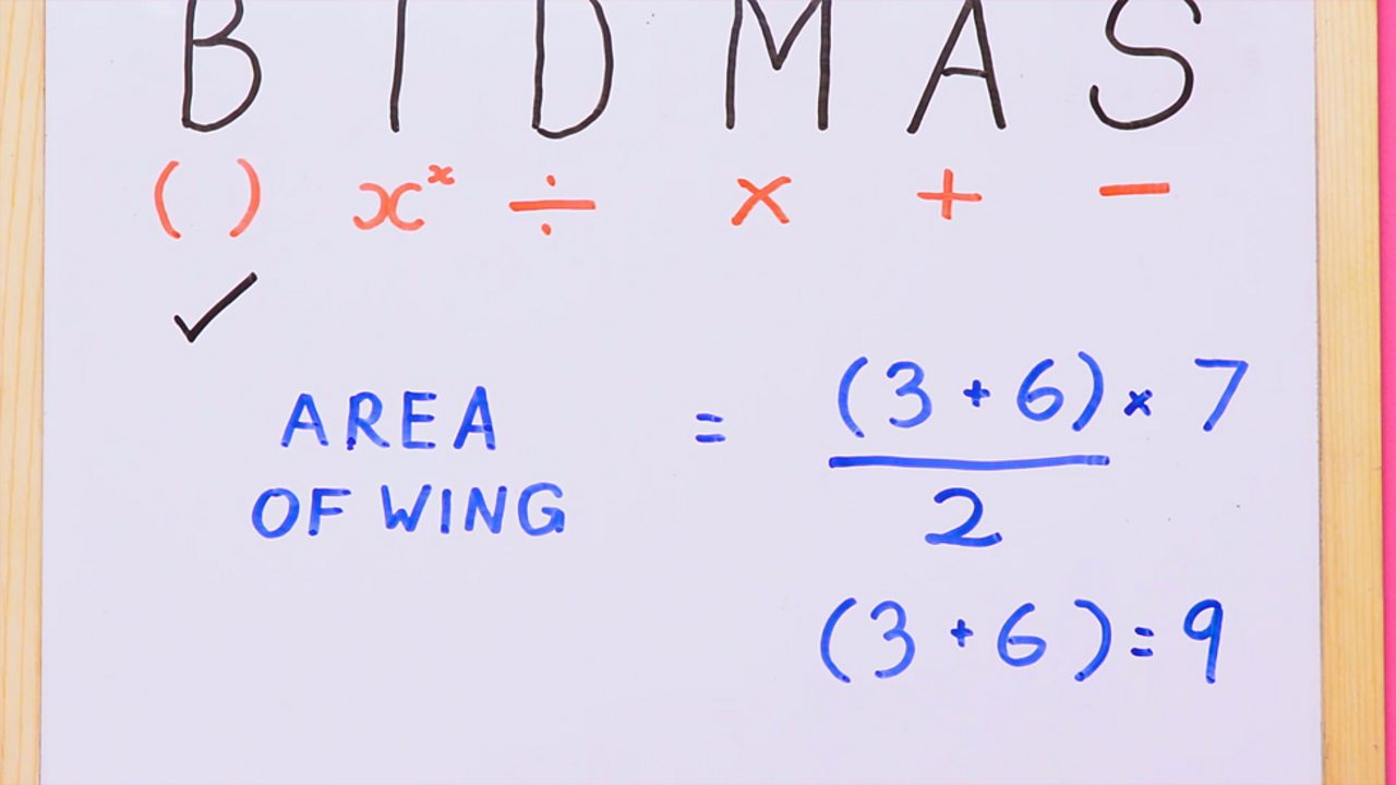 Writing out the order of operations, BIDMAS, and expanding the brackets to (3 + 6) = 9