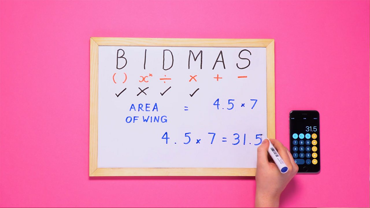 Using the order of operations, BIDMAS, to complete a calculation. 4.5 × 7 = 31.5