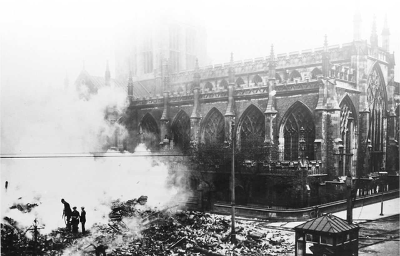 Damage to Hull Cathedral caused by a Zeppelin attack during World War One in June 1915