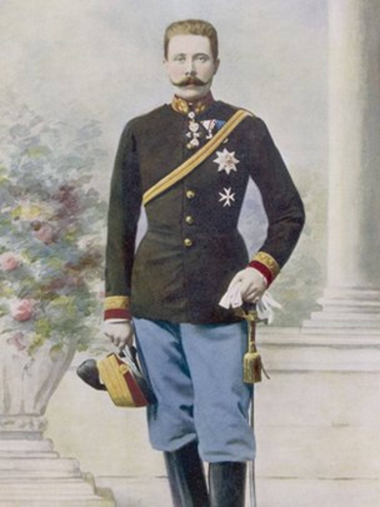 A portrait of Archduke Franz Ferdinand, the heir to the throne of Austria-Hungary