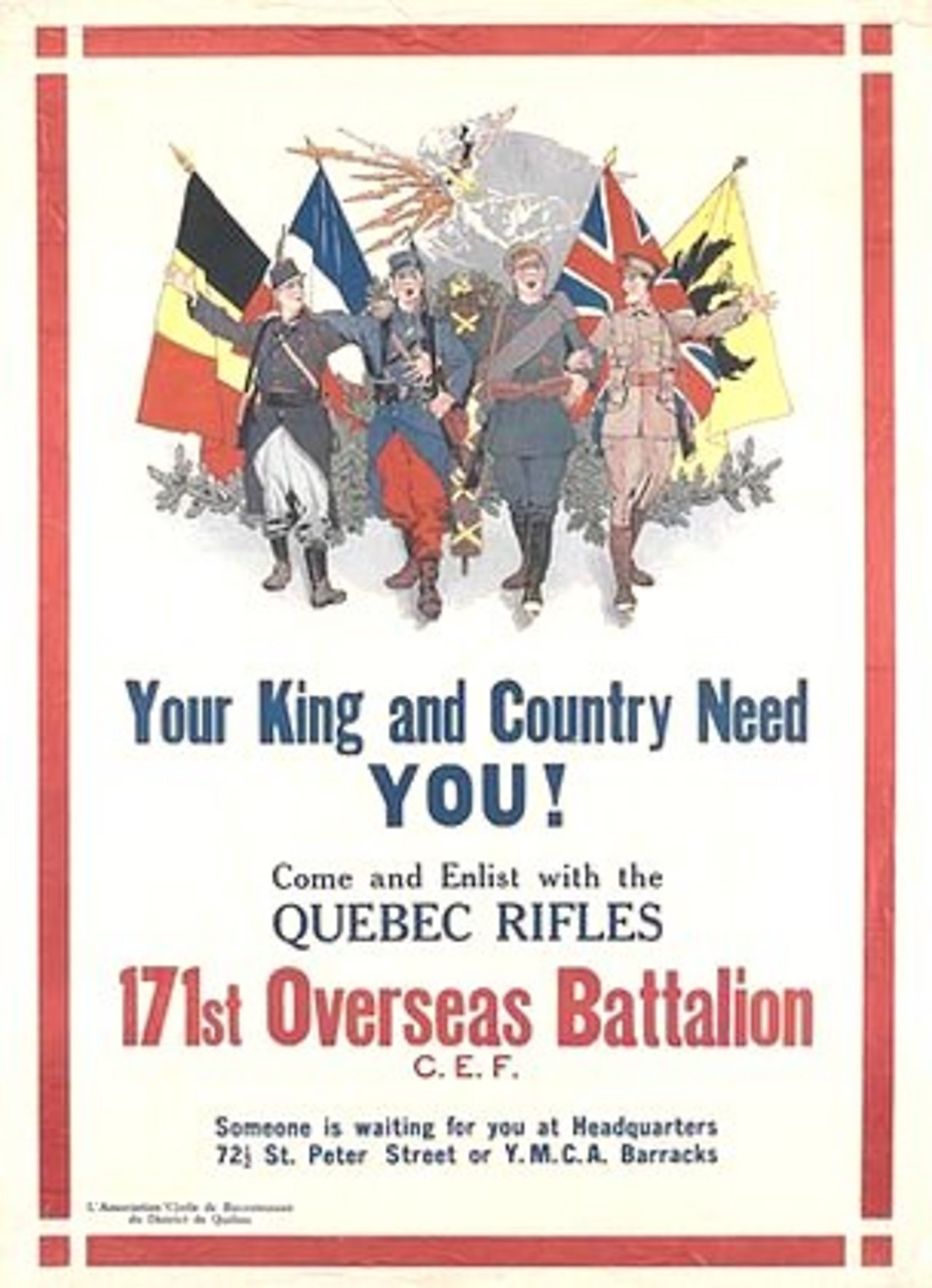Canadian poster appealing for people to join the armed forces in World War One