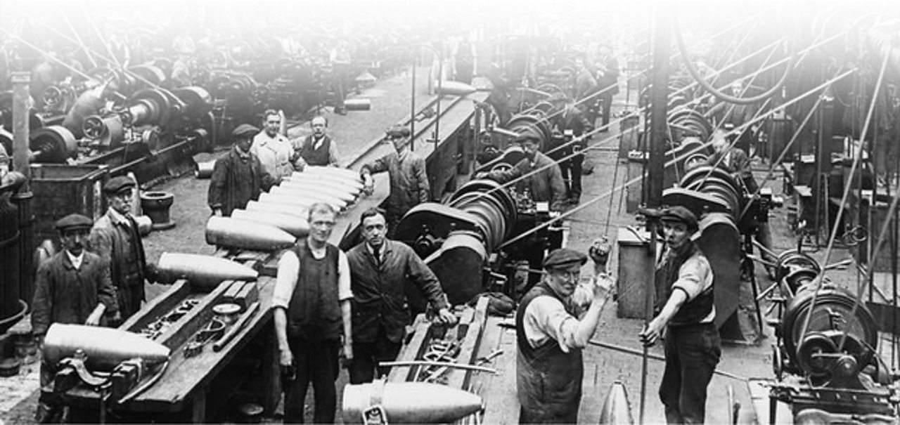 Men working in an English shell factory during World War One