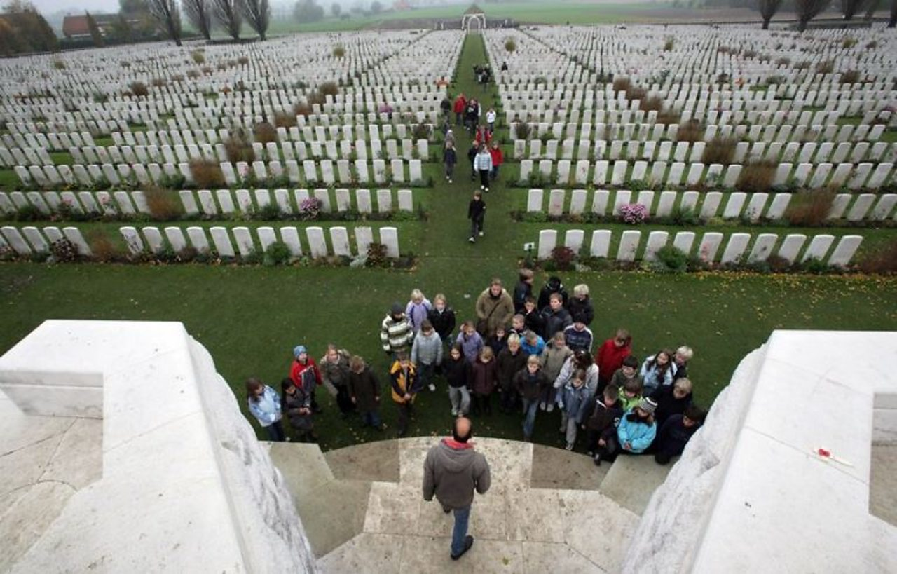 School children visiting the Tyne Cot Cemetery near Ypres in Belgium in the present day