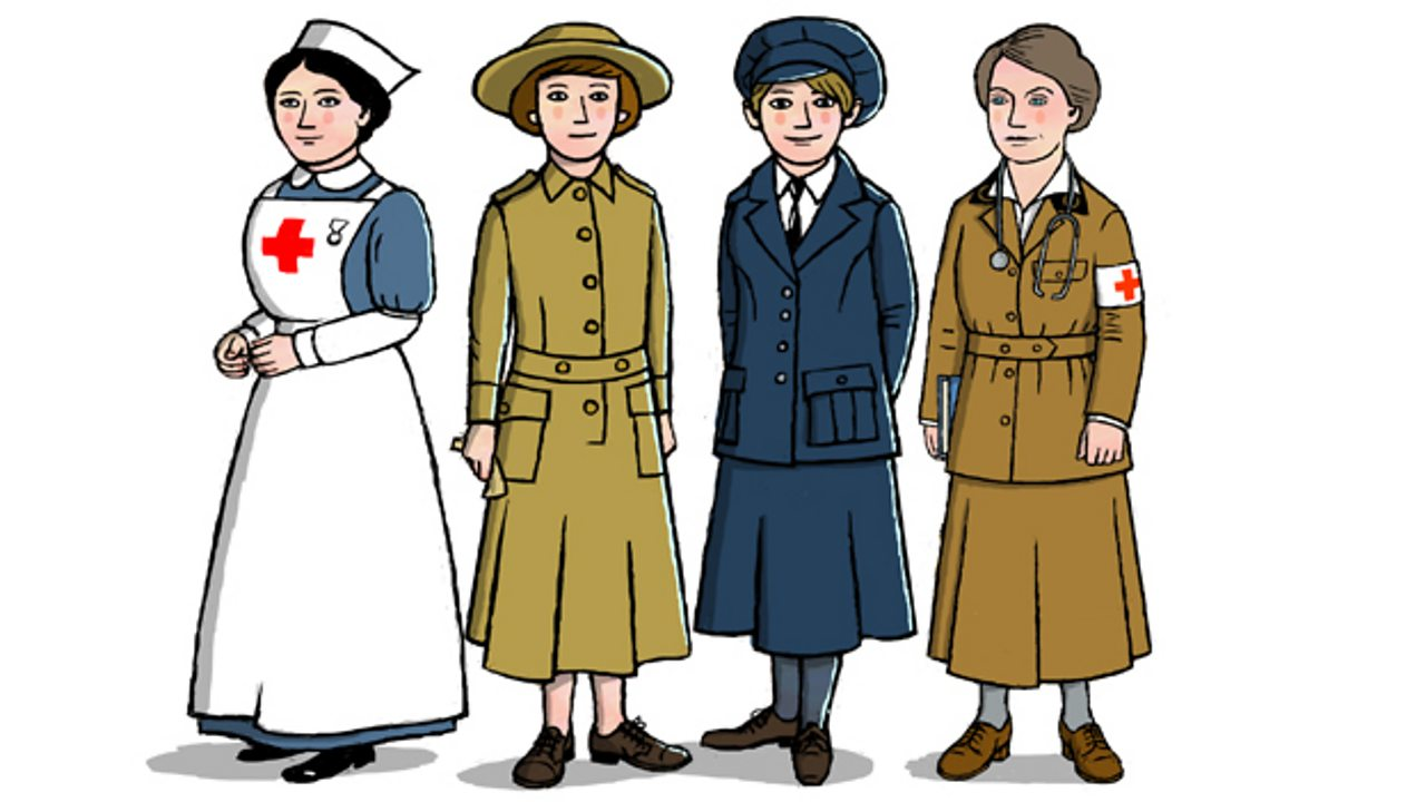 Illustrations of female World War One nurse, doctor, ambulance driver, WAAC worker