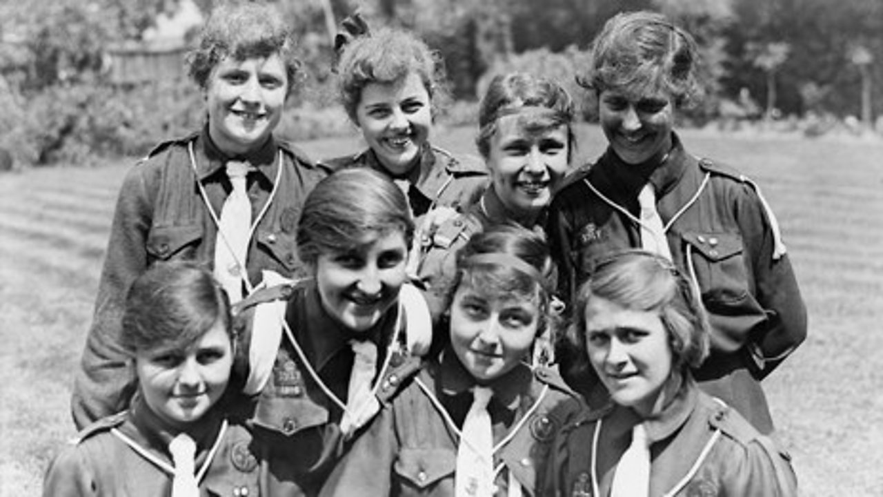 A photograph of a group of Girl Guides during World War One