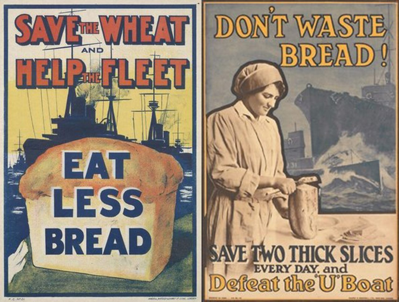 A government poster from World War One encouraging people to eat less bread