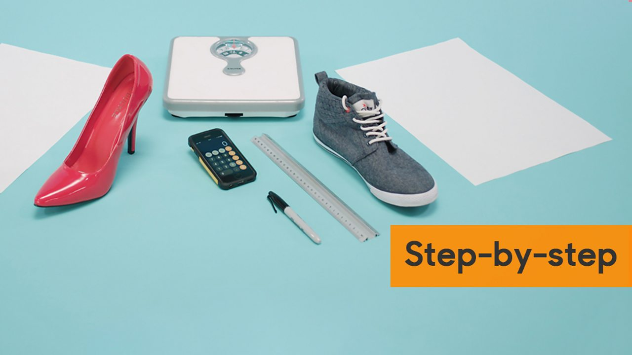 Step-by-step guide showing weighing scales, calculator, ruler, pen, trainer, stiletto shoe and a piece of paper.