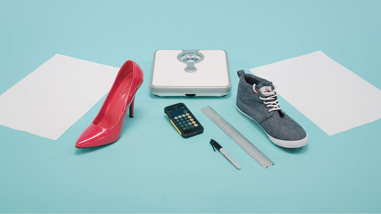 YOU WILL NEED: Weighing scales, calculator, ruler, pen, trainer, stiletto shoe and a piece of paper.