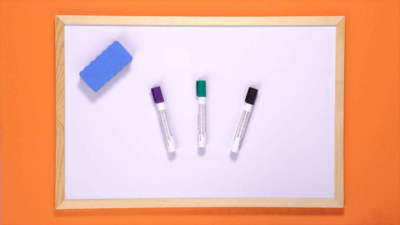 YOU WILL NEED: A whiteboard, eraser and coloured pens.