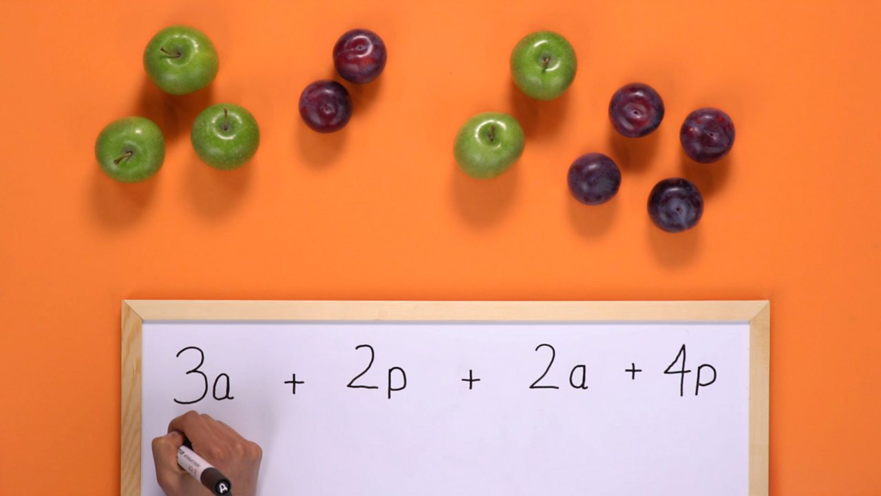 Write out the equation using a and p to represent the apples and plums